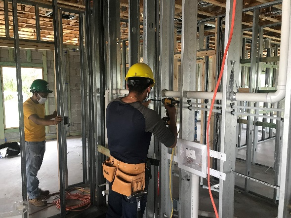 Student working construction